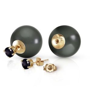 BLACK DIAMONDS & BLACK SHELL PEARL EARRINGS